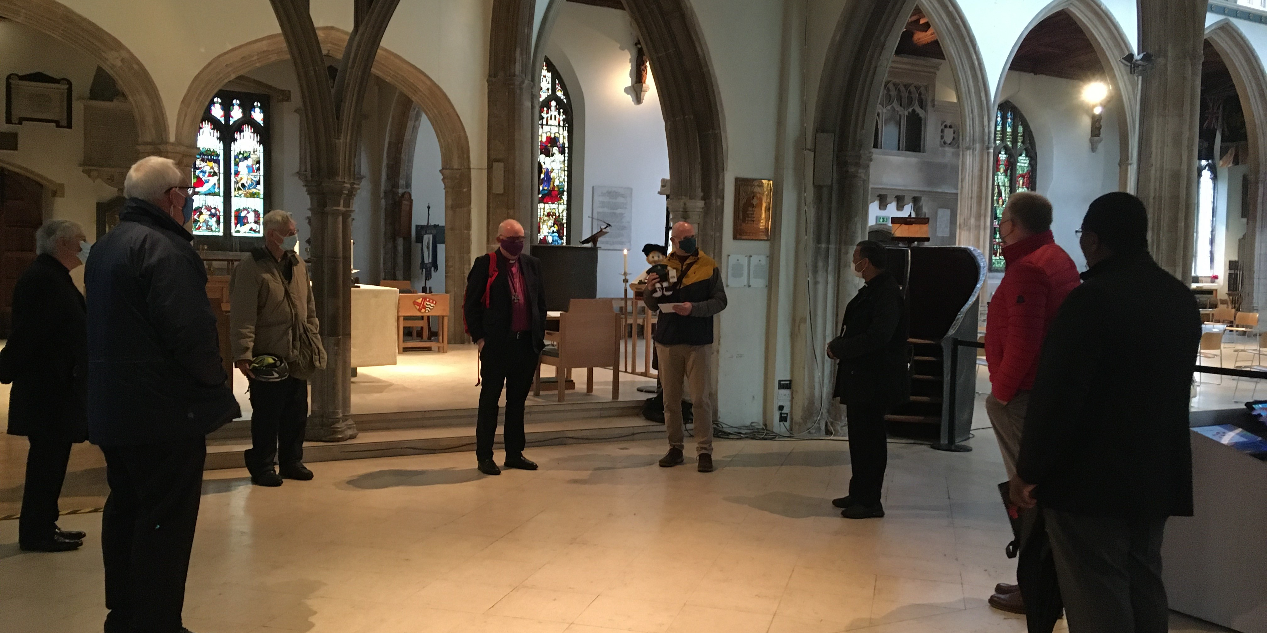Church Leaders inside Chelmsford Cathedral presenting Nick Lear with leaving gifts